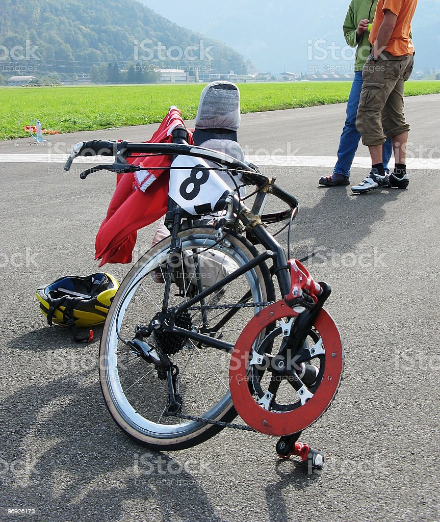 High-tech recumbent bicycle royalty-free stock photo