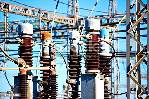 Electricity infrastructure in the form of a high-voltage substation.