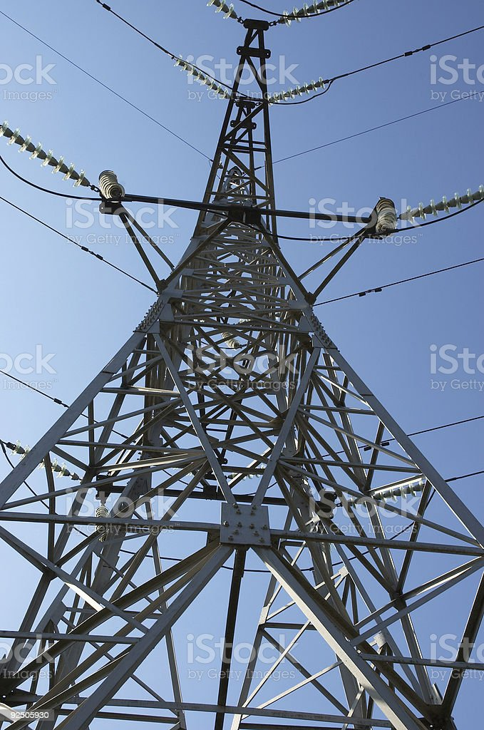 high-voltage line on the sky background royalty-free stock photo