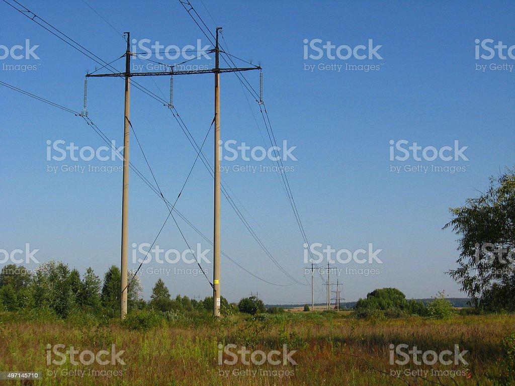 high-voltage line stock photo