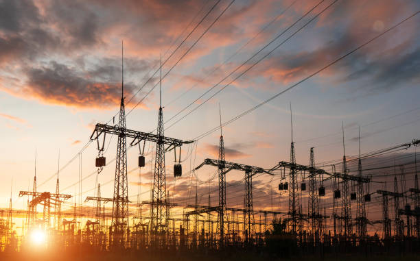High-voltage power lines. Distribution electric substation with power lines and transformers