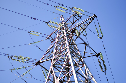 High-voltage power lines. Electricity distribution station.