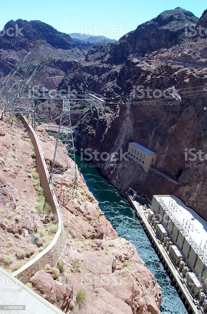 High-Voltage Power Lines from Hoover Dam stock photo