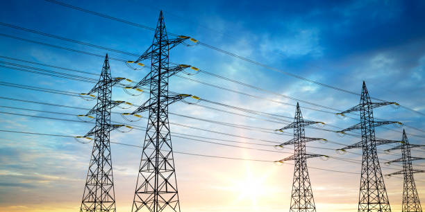 High-voltage sky background Electrical poles of high voltage in blue sky high voltage sign stock pictures, royalty-free photos & images
