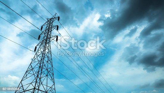 istock High-voltage sky background. 621845044