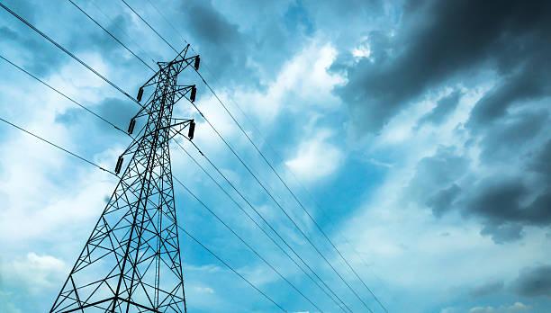 high-voltage sky background. - generator text stock-fotos und bilder