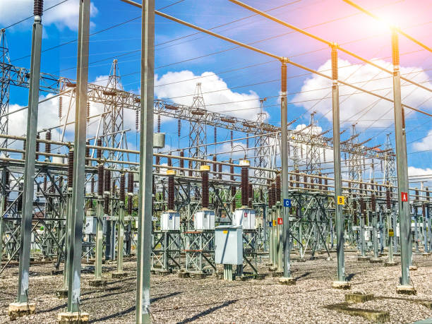 High-voltage station with clear sky and sunshine. High-voltage station with clear sky and sunshine. electro music stock pictures, royalty-free photos & images