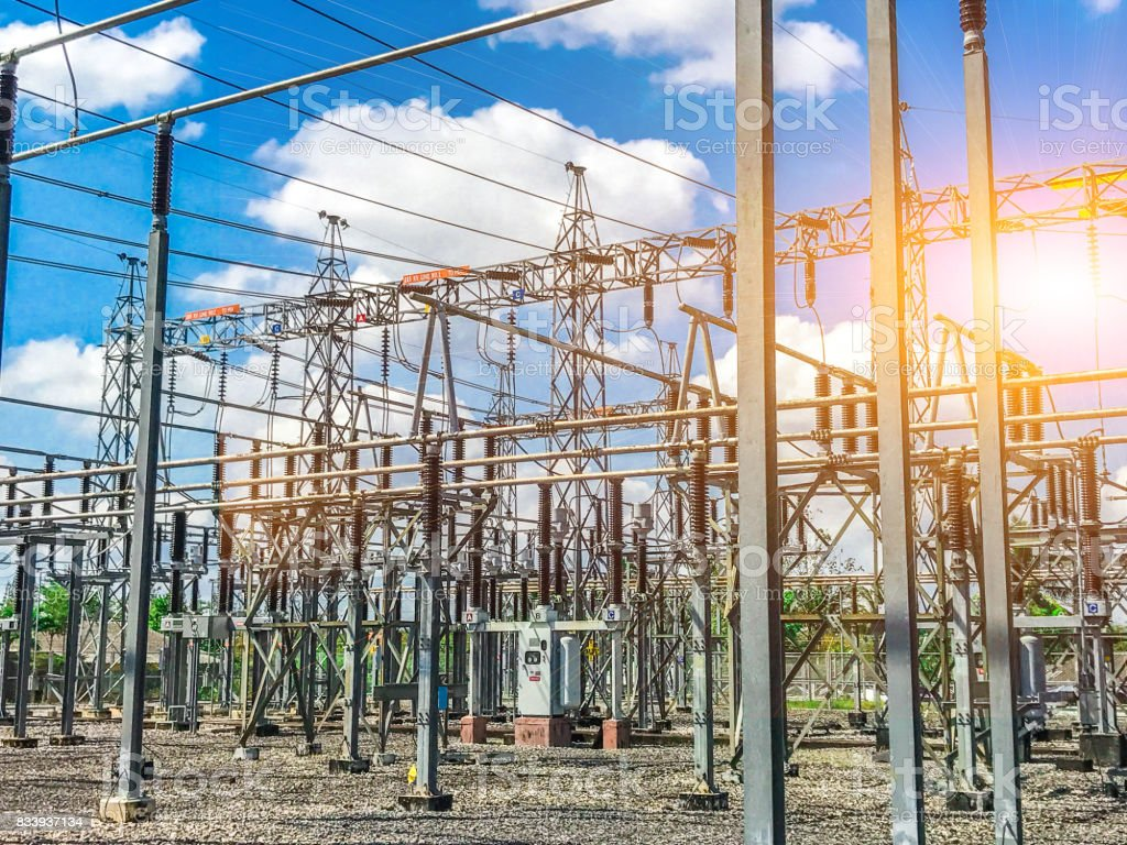 High-voltage station with clear sky and sunshine. stock photo