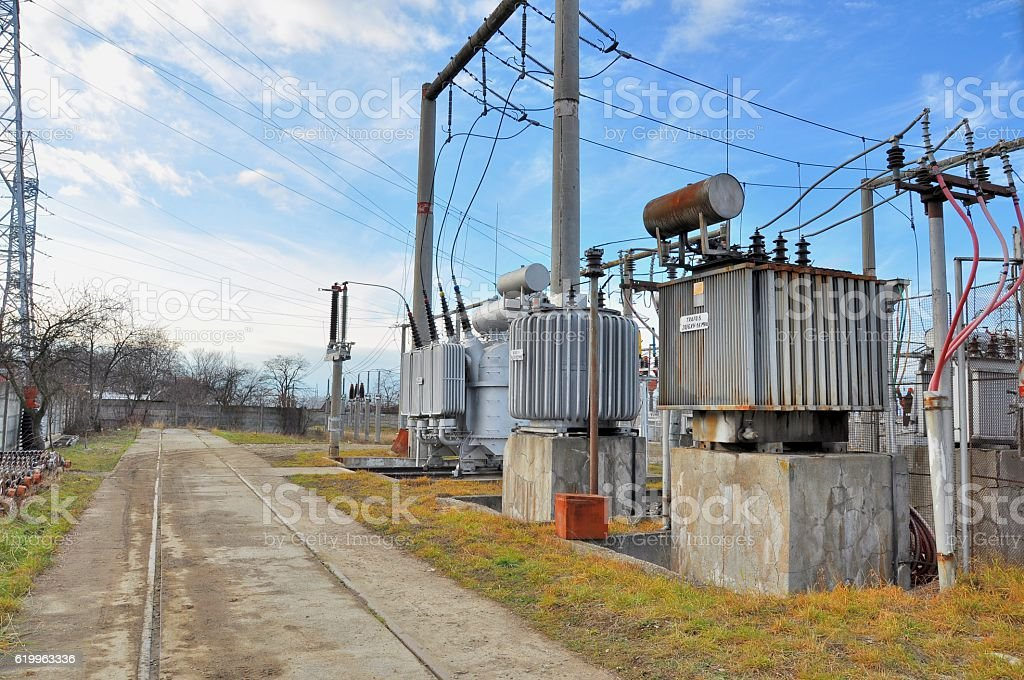 High-voltage transformers with switch and connectors stock photo