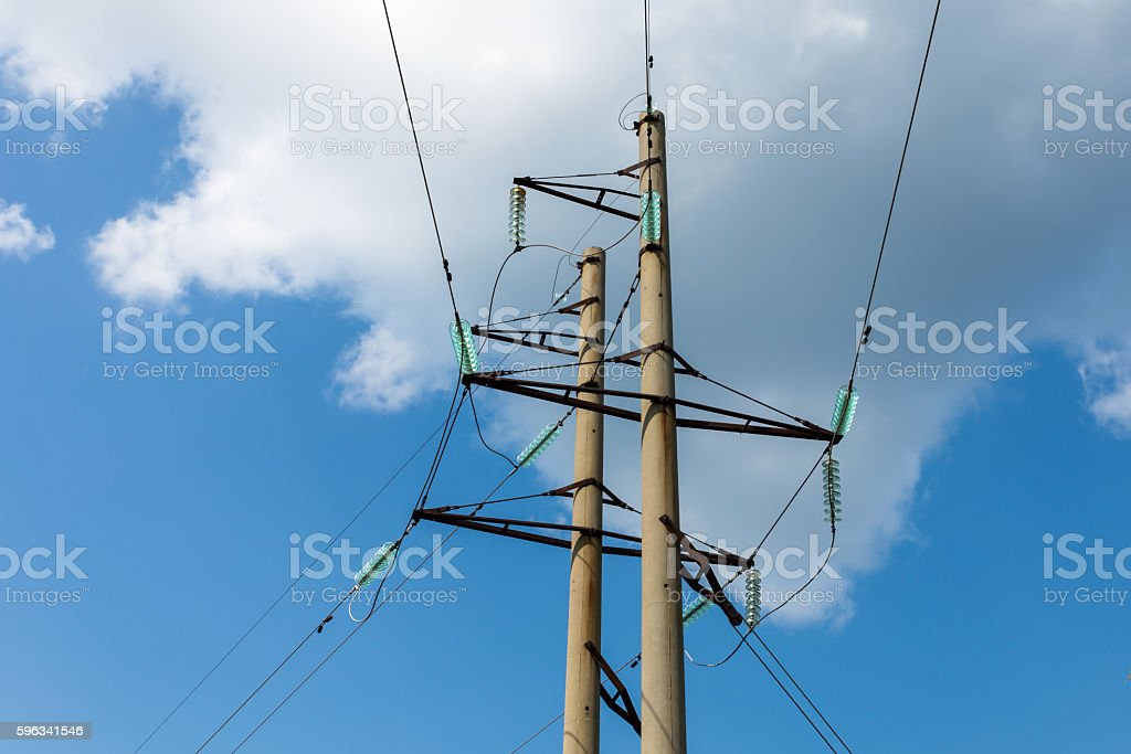 high-voltage transmission line tower royalty-free stock photo