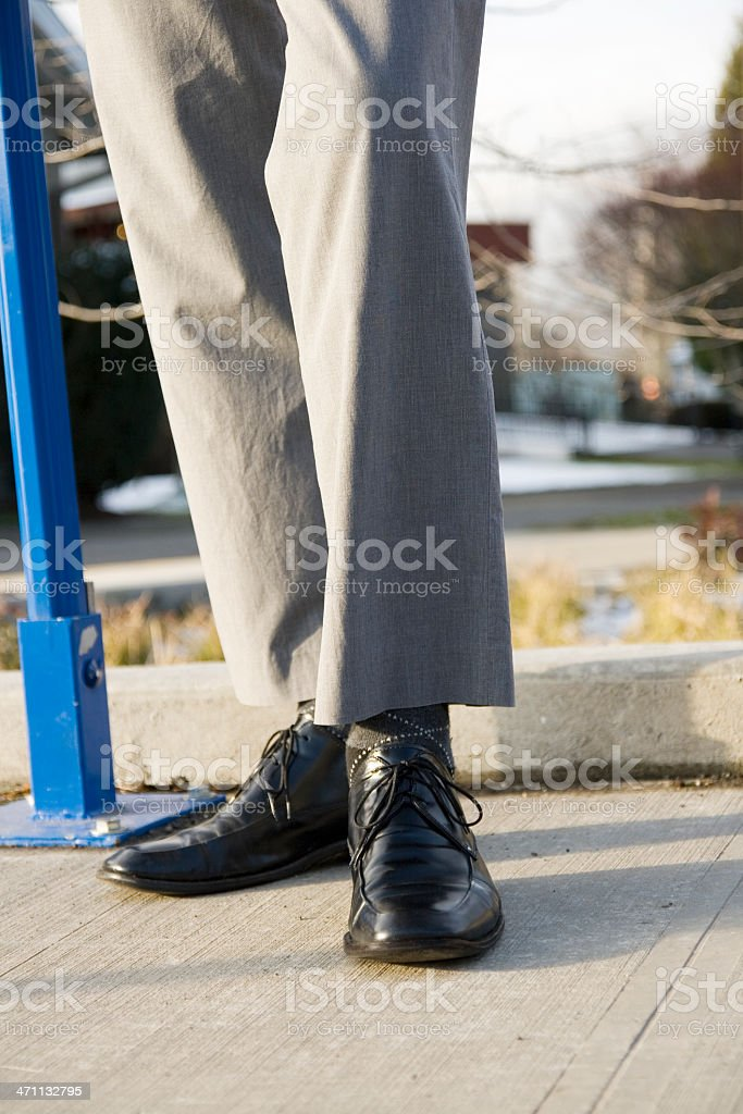 Highwater Pants Waiting for Bus stock photo