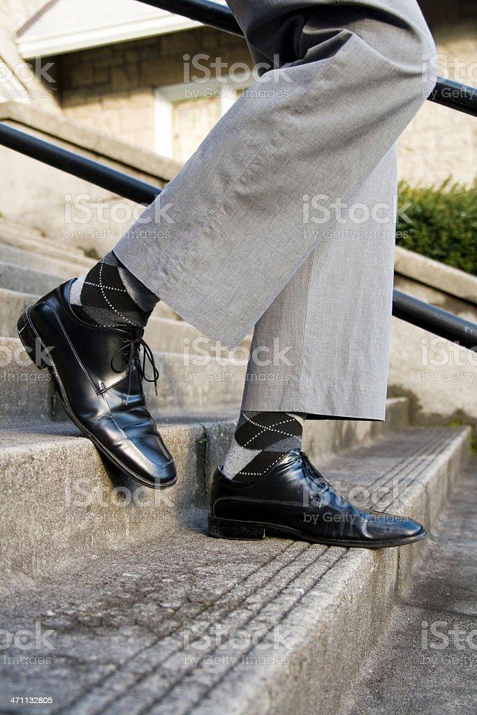 Highwater Pants Walking Down Stairs stock photo