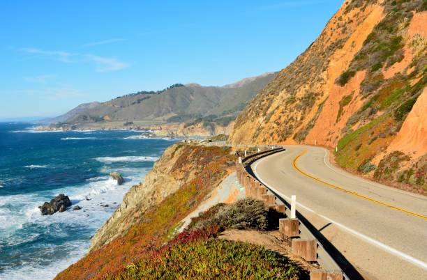 Highway 1 running along Pacific coast in Big Sur state parks in California. stock photo