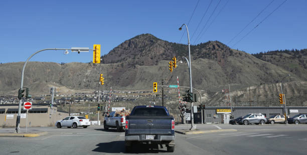 Highway 1 Traffic in Kamloops, British Columbia stock photo