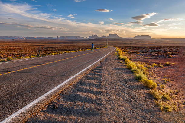 Highway 163 in Monument Valey National Park, Utah, Southwest USA stock photo