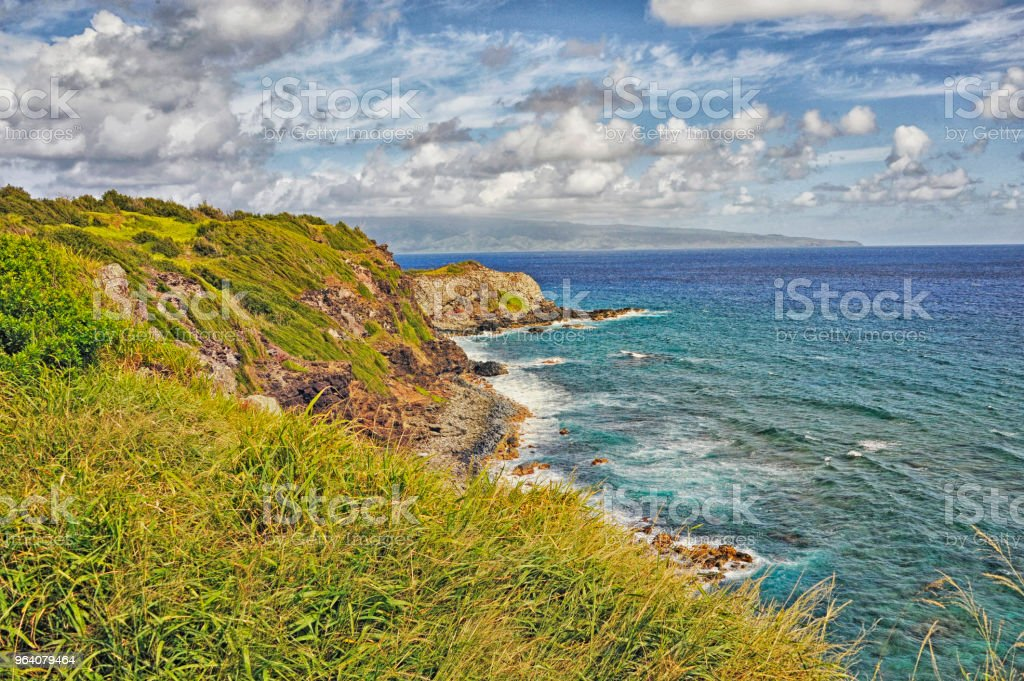 Highway 30 Maui Hawaii from above Shoreline View - Royalty-free Cliff Stock Photo
