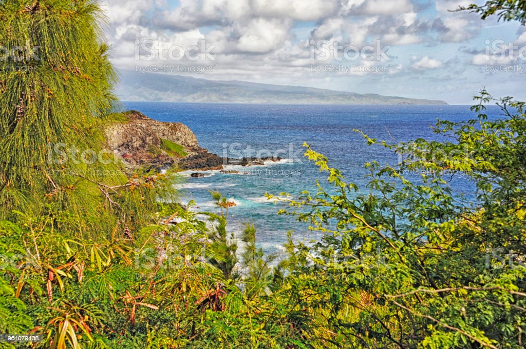 Highway 30 Maui Hawaii Shoreline from Above - Royalty-free Cliff Stock Photo