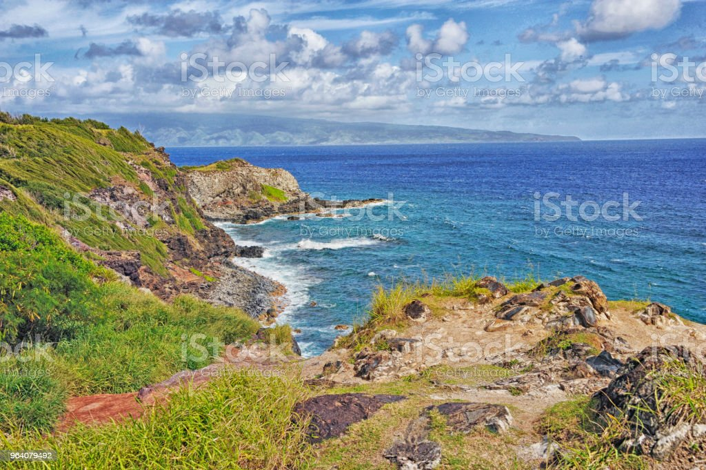 Highway 30 Maui Hawaii Shoreline view from above with Clouds - Royalty-free Cloud - Sky Stock Photo