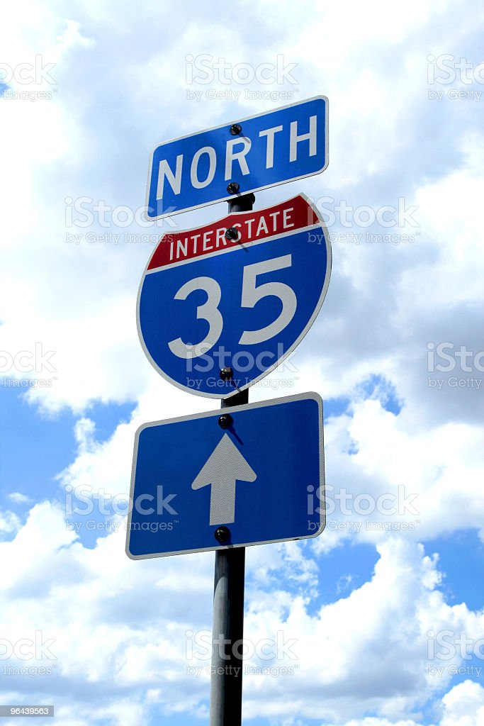 Highway 35 Road Sign - Royalty-free Achtergrond - Thema Stockfoto