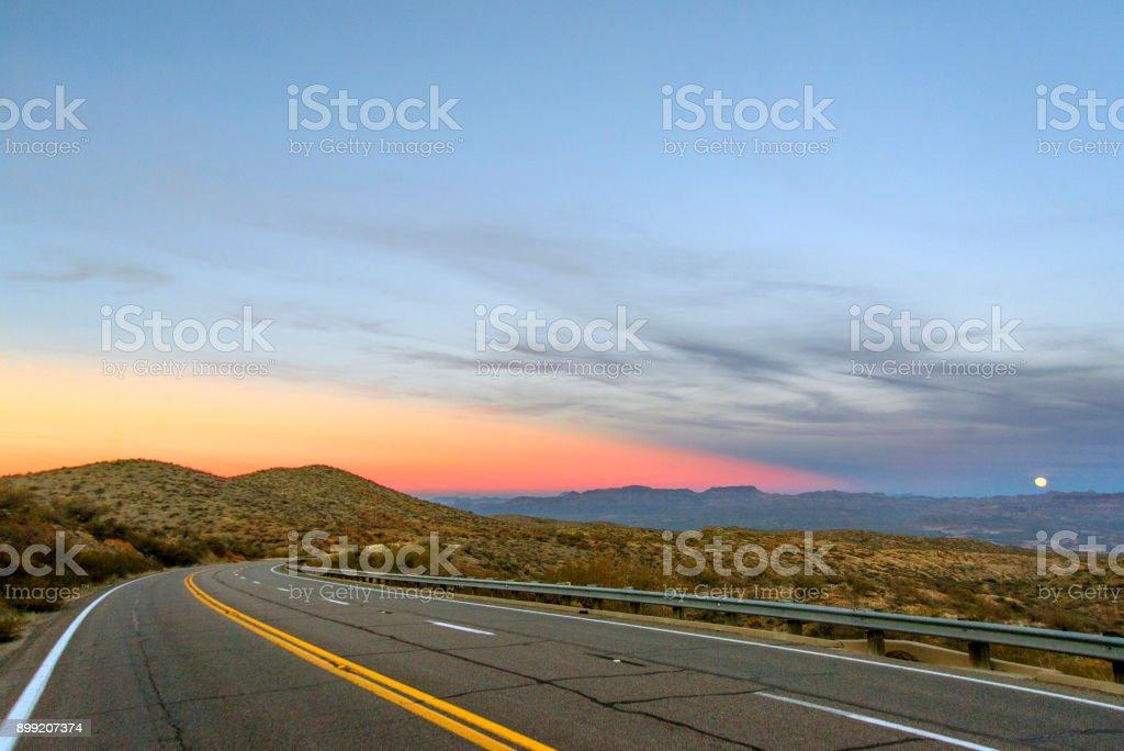 Highway 77 sunset stock photo