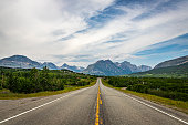 US Highway 89 soutyhbound along the eastern edge of Glacier National Park near Babb, Montana.