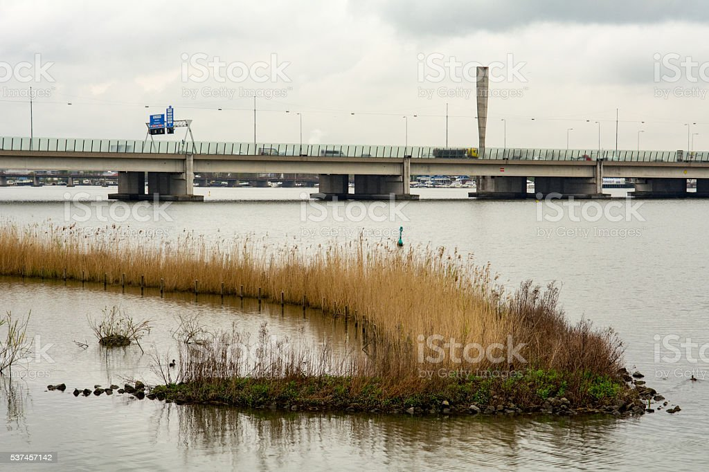 Highway A10 Ring road of Amsterdam seen from the water stock photo