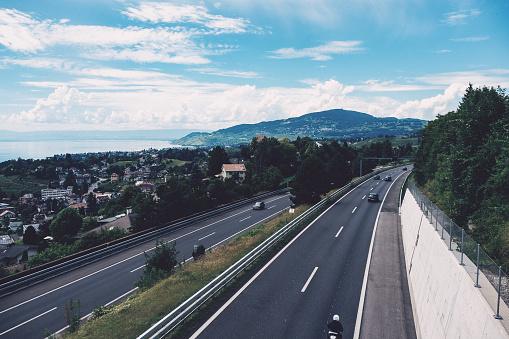 Highway along lake Geneva in Switzerland