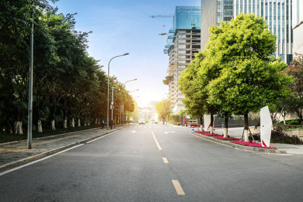 Highway and city modern architecture in guangzhou,china stock photo