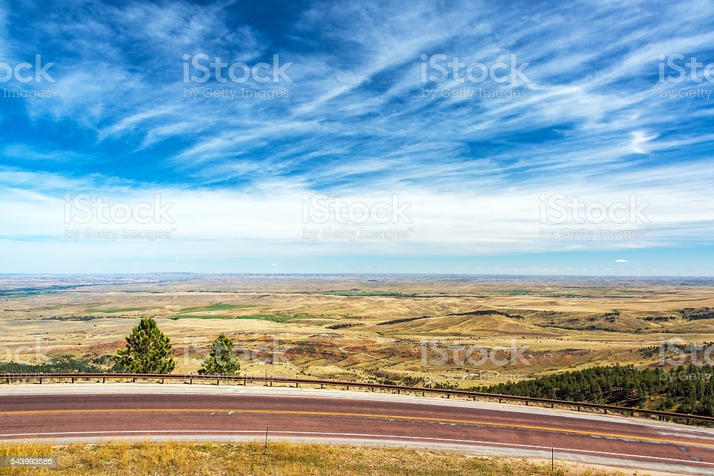 Highway and Flat Landscape stock photo