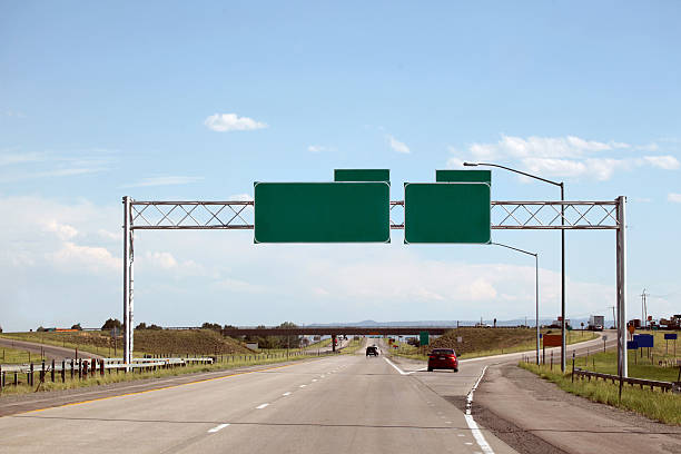 highway and green signs with clipping path - exit sign stock photos and pictures