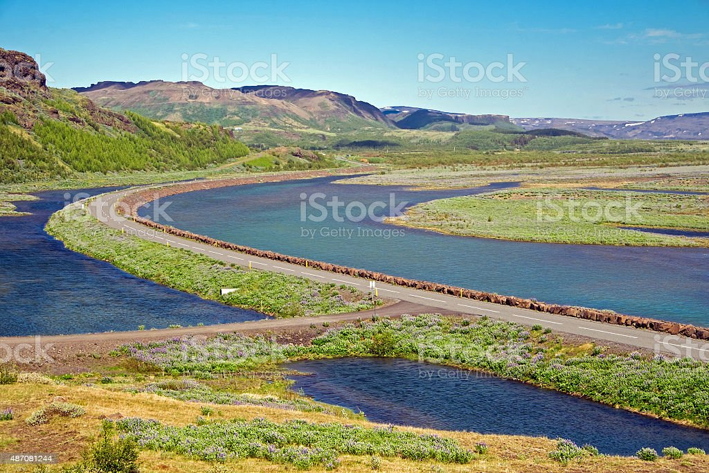 Highway and landscape in Iceland stock photo