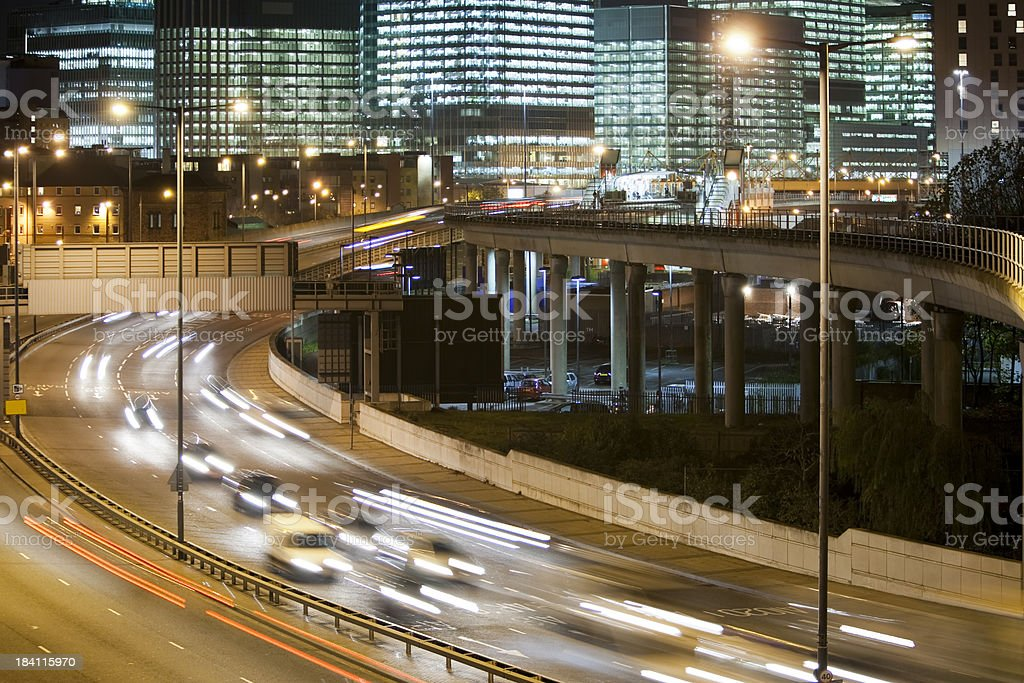 Highway and Office Buildings at Night, Docklands, Canary Wharf, London royalty-free stock photo