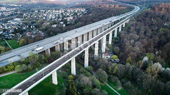 Highway and railroad bridge - aerial view