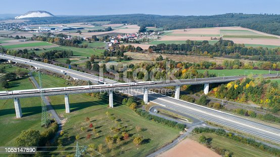Highway and railroad track - aerial view