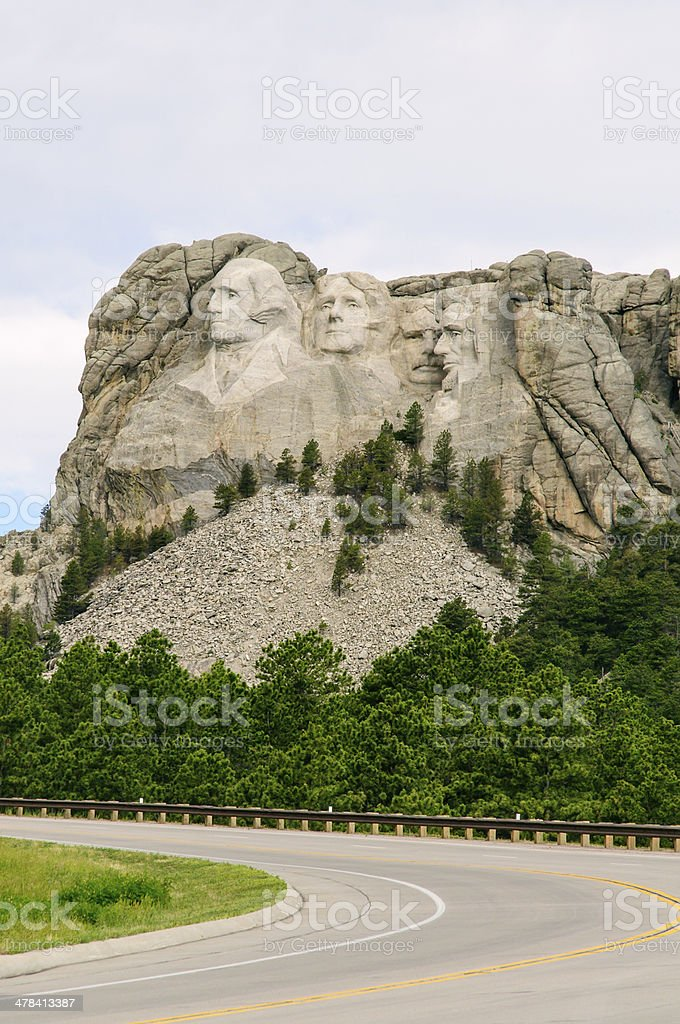 Highway approach to Mount Rushmore stock photo