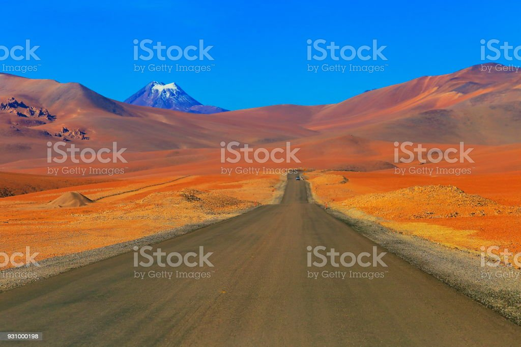 Highway asphalt Road to Atacama Desert  – dramatic volcanic landscape –  Chile stock photo