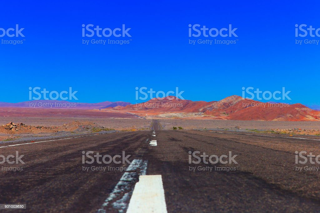 Highway asphalt Road to Atacama Desert  – volcanic landscape –  Chile stock photo