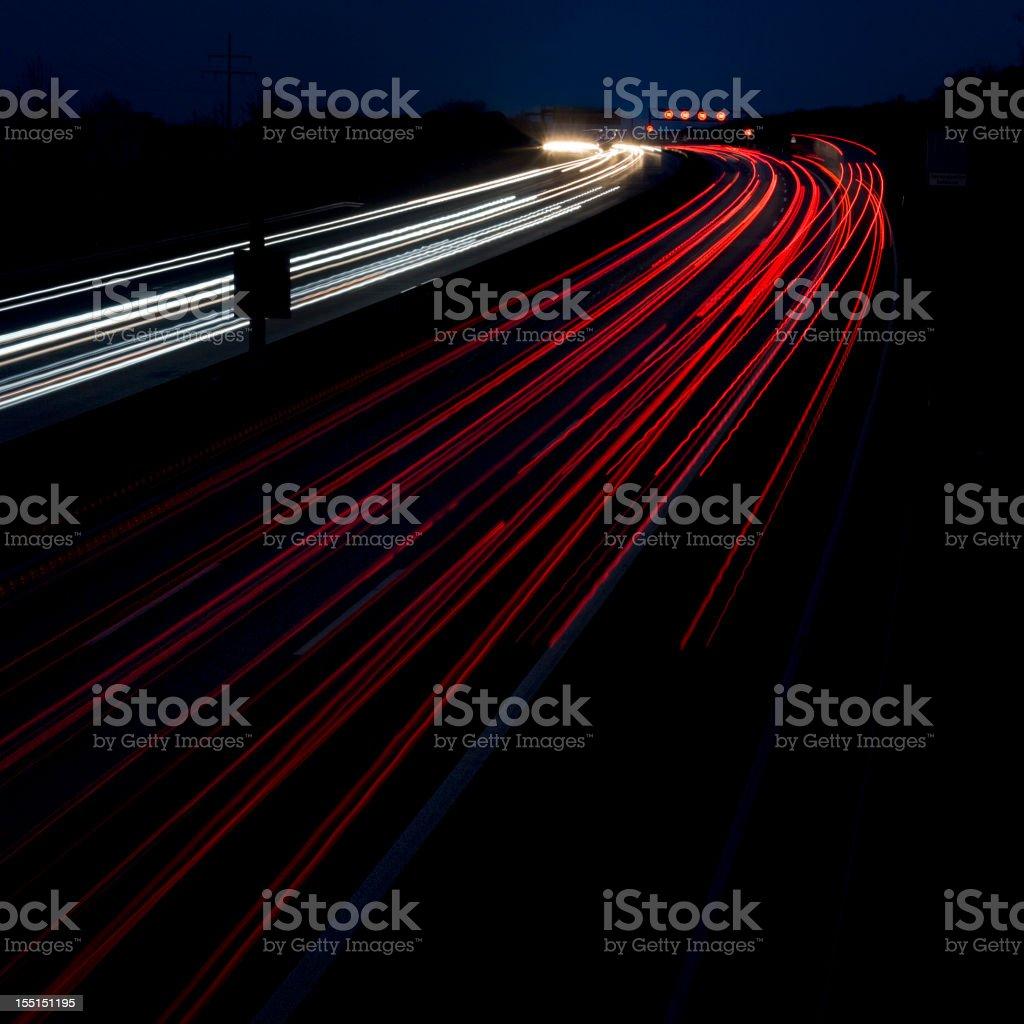 Highway at dusk, long exposure royalty-free stock photo