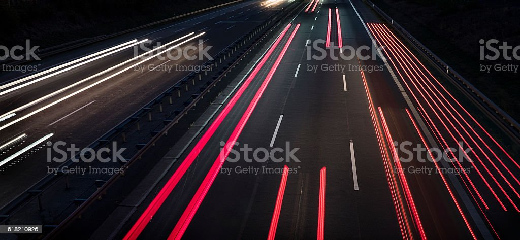 Highway at dusk - long exposure stock photo