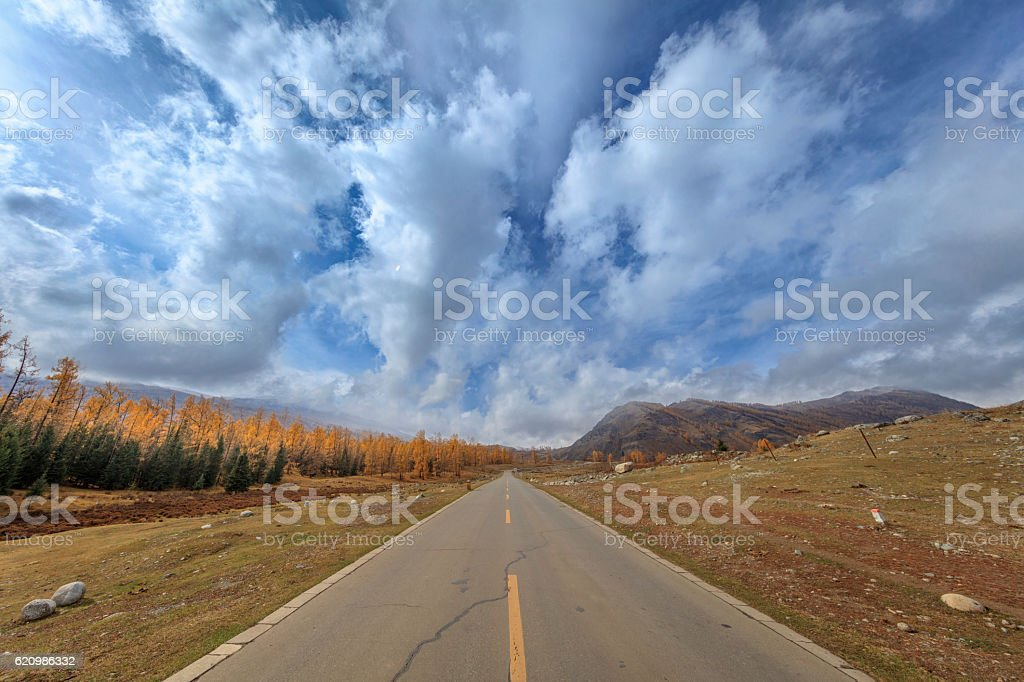 Highway at Kanas Lake area, Xinjiang, China foto royalty-free