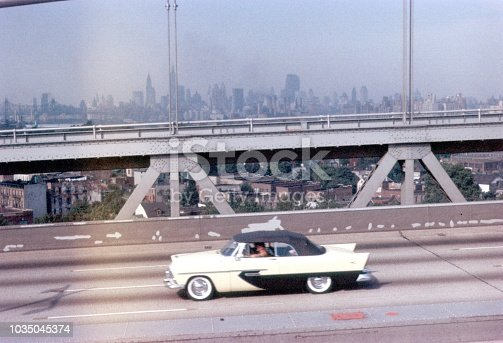 Brooklyn, New York City, NYS, USA, 1960. Vehicle on the freeway at New York City.