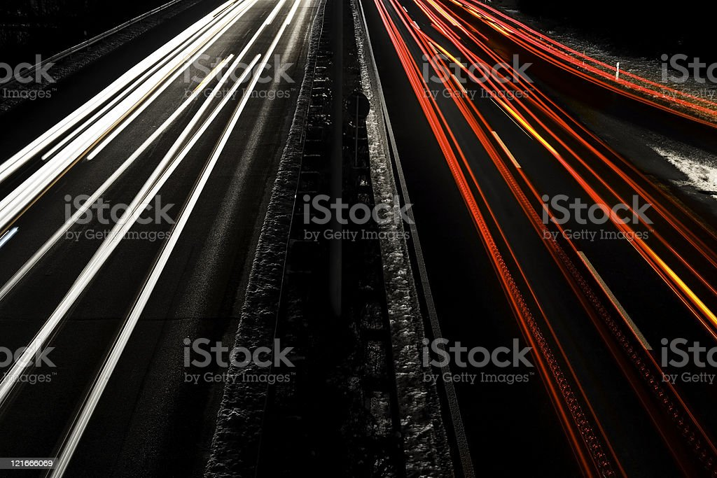 Highway at night - long exposure royalty-free stock photo
