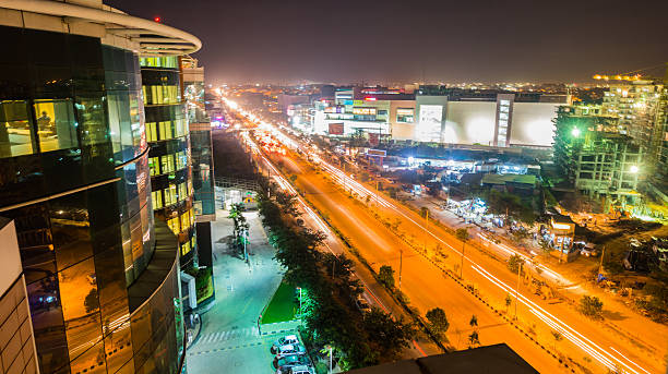 Highway at Night View of Highway from a building top at night. This is a long exposure shot. bangalore stock pictures, royalty-free photos & images