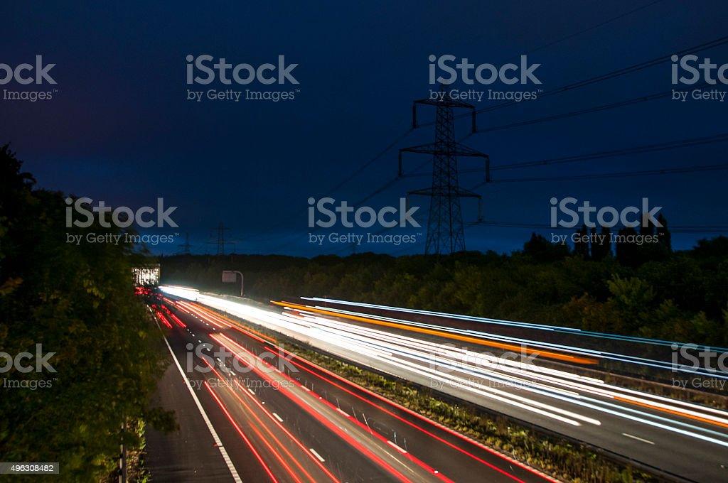 Highway At Night (Long Exposure) stock photo