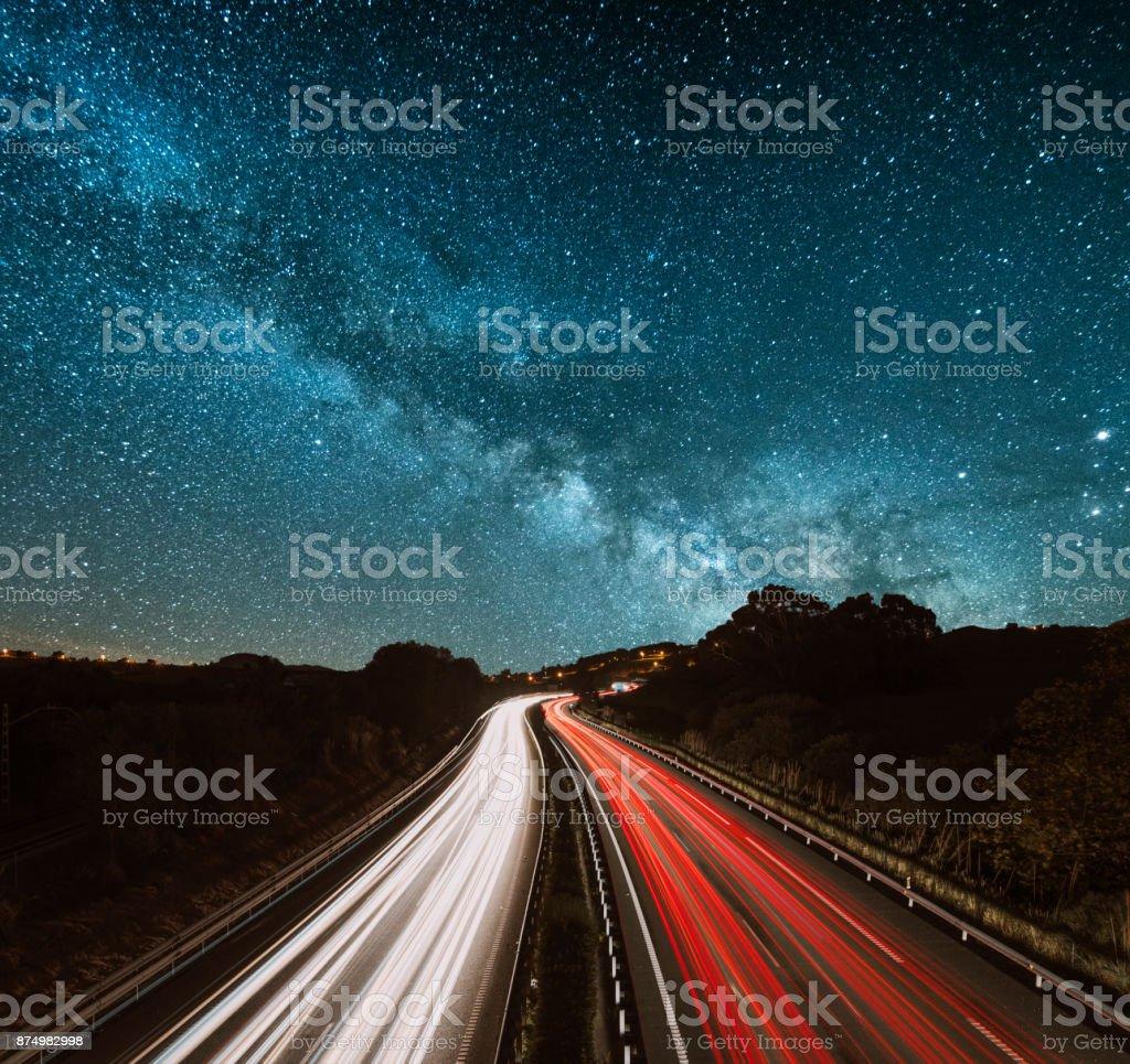 Highway at night stock photo