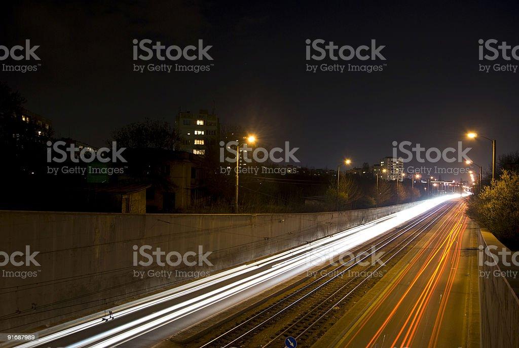 Highway at night royalty-free stock photo