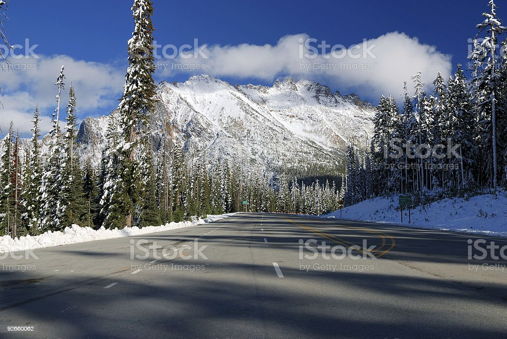 Highway at North Cascade Mountains royalty-free stock photo