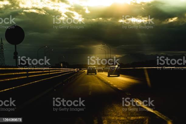 Photo of Highway at sundown in backlight, FVG, Italy