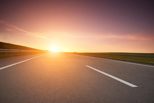 highway at sunrise