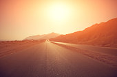 empty highway at sunrise
